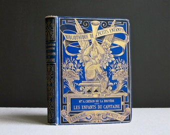 Antique Childrens Book - French - Les Enfants du Capitaine - Hachette Bibliotheque des Petits Enfants 19th C  Belle Epoque Decorated Binding