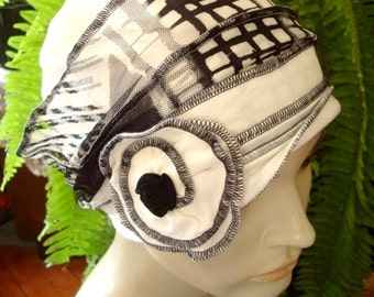 Womens Hat Black and white  Gypsy hat womens chemo hat summer chemo headwear soft hat comfortable head cover with flower