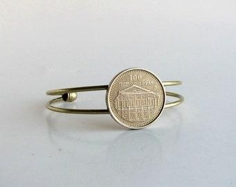 world coin bracelet . coin cuff bracelet . Spain coin bracelet . vintage Spanish coin jewelry . adjustable cuff . womens jewelry wrist cuff