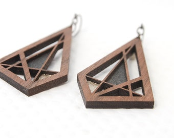 Abstract Rectangular Earring : Walnut Wood Graphite + Silver | Modern Geometric Shape for Her