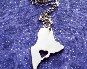 I Heart Maine - Necklace Pendant or Keychain