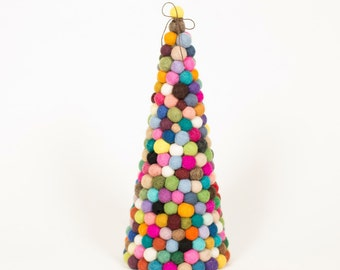 Felt ball tree, Original modern felt ball pom pom Christmas tree 30cm