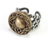 Antique Button Ring, Silver Gold Victorian Button, Silver Filigree Handmade