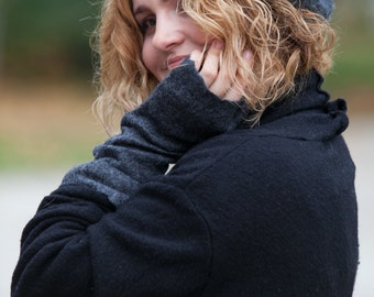Felted hat -felt beret gray merino wool original warm woman winter accessory ready to send Great gift idea