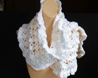 White Crochet Scarf, Handmade Long Lacy Scarf With Ruffles Girly Feminine Casual Dressy Outerwear, White Knit Scarf Gift For Women