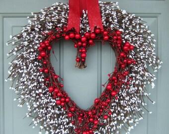 Valentine's Day Wreath - Heart Wreath - Valentine Door Wreath