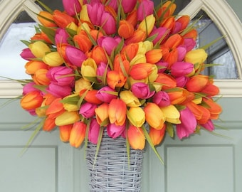 Spring Wreath - Spring Tulip Wreath - Spring Tulip Door Basket