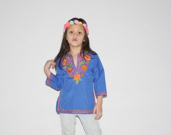 Kid's Vintage Top - 1970s Girl's Mexican Top -  The Peace Groovy Baby Top - K0002