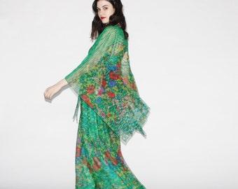 Vintage 1960s Maxi Dress - Vintage 60s  Sheer Floral Caftan  - The Summer Fairy Dress - WD0216