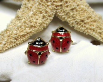 18k Yellow Gold Ladybug Post Earrings Red and Black Enamel 1.12g