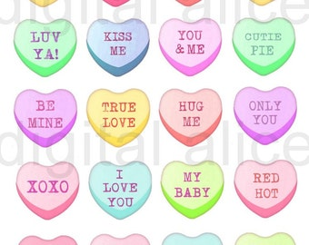 CANDY CONVERSATION HEARTS - Digital Download - Fun Printable Candy Valentine Hearts, Valentines Day - cards tags stickers more