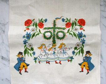 100% Linen Tea Towel Froso Handtryck Made in Sweden Midsummer Dancing Maypole