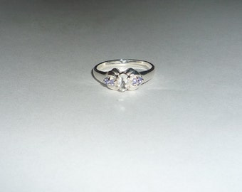White Topaz Ring With Natural Tanzanites Sterling Silver .925