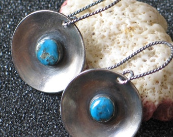 Turquoise & Argentium Sterling Earrings