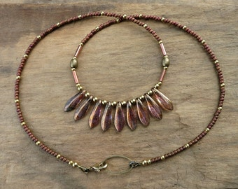 Copper Glass Bohemian Necklace, dainty Czech glass tribal necklace with metallic copper tones and bright gold brass