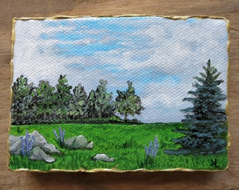 Miniature Landscape Painting, original tiny acrylic spring meadow ACEO art with pine tree, boulders, and purple flowers
