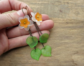 Daffodil Dangle Earrings, long flower statement earrings in white, orange and green, whimsical floral spring jewelry