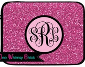 Monogrammed Laptop Case, Pink Glitter Macbook Case, iPad Sleeve