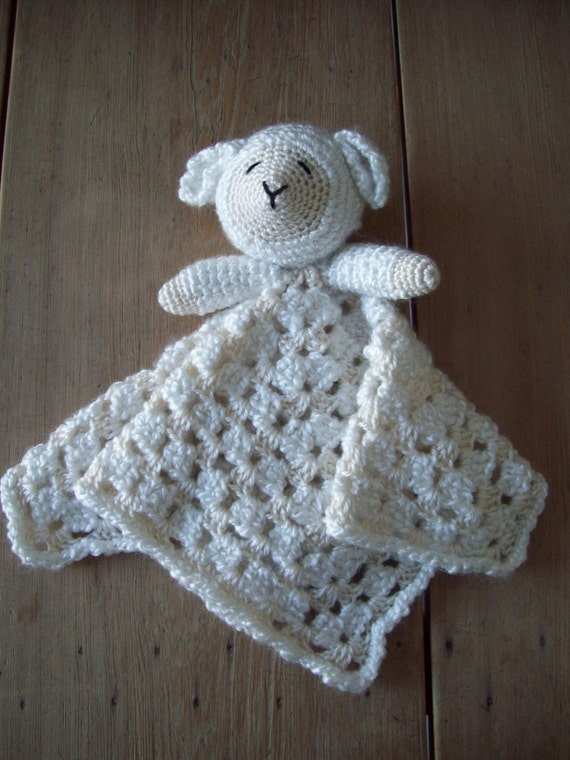 Crocheted LAMB LOVEY Security Blanket Snuggle Blankie Tan