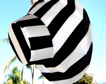 Summer Wide Brim Sun Hat for Women Black and White Spa Hat Spa Clothing Elegant Wedding Hat Beach Hat Retreat Sunhat Freckles California