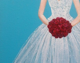 "Wedding Dress Painting, Wedding Gown Portrait, Bridal Gown - ""Ruby Red""."