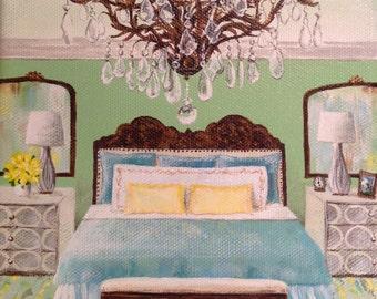 "Fine Art Print, Interior Illustration, Chandelier painting, Painting of Room, Chandelier, Bedroom - ""The Green Room"""