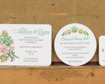 Rustic Boho Succulent Wedding Invitation,Rustic floral wedding invitations,Rustic Botanical Wedding Invitation,Succulent Wedding Invites