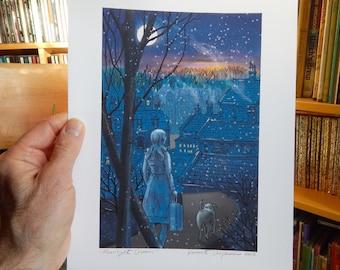 Moonlight Dream Print of Original Illustration