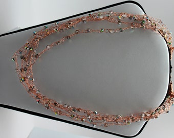 Crocheted Copper Wire and Fire Polish Necklace