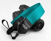 Recycled Blue Green Seatbelt Camera Shoulder Strap - Vegan, Made in USA