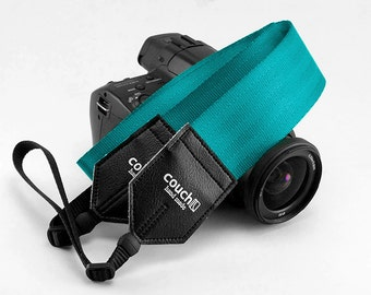 Recycled Blue Green Seatbelt Camera Shoulder Strap - Vegan, Made in USA