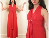 Vintage 1970s Party Dress in Orange Red with Rhinestones / 70s Sleeveless Maxi Dress by Mary Martin / Small
