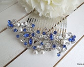 ivory pearl Bridal Rhinestone Hair Comb Wedding Rhinestone Hair Comb flower Rhinestone Hair Comb Swarovski Crystals Something Blue NAYA