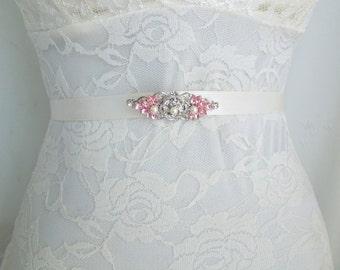 Pink Bridal Brooch,Bridal Rhinestone Brooch,Wedding Rhinestone Brooch,Rose Rhinestone Brooch,Swarovski Crystals Brooch,Bride,Brooch,ROSELANI