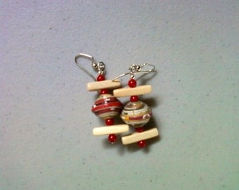 Red, White, Yellow and Green Ethnic Earrings (1369)