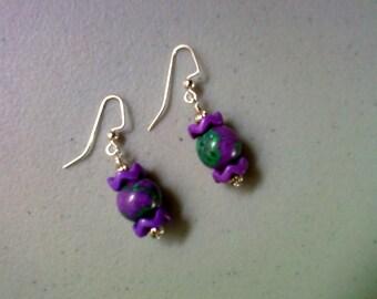 Purple and Teal Earrings (1158)