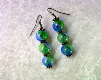 Blue, Green and Black Earrings (1200)