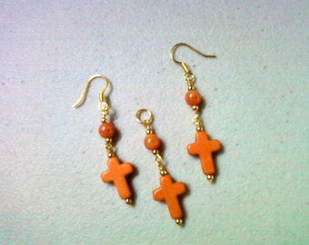 Orange Cross Pendant and Earrings (0450)
