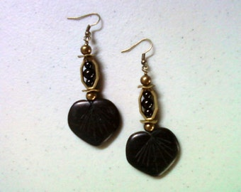 Black and Brass Leaf Earrings (1447)