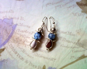 Cornflower Blue and Silver Earrings (1722)