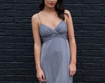 Lilita, Vintage, Silver Grey Silk Jersey Mini Dress, from Paris