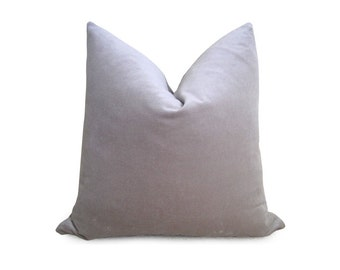 Decorative Cotton Velvet Pillow -Silver - 18 inch - BOTH SIDES - Gray Pillow - Velvet Pillow - Silver Pillow - Decorative Pillow