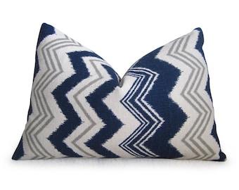 Ikat Chevron Designer Pillow Cover - Navy Blue - Ikat Pillow - Linen Pillow - Toss Pillow - Decorative Pillow - Zig Zag Pillow