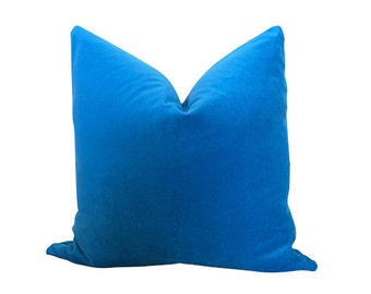 Cotton Velvet Pillow Cover - Peacock Blue - Blue - 20 inch - Blue Velvet Pillow - Velvet Pillow - Velvet Pillow - Decorative Pill