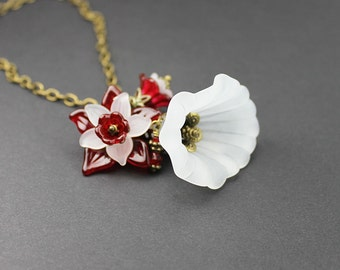 White Lily with Red Floral Vintage Style Necklace