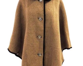 vintage wool cape - 1960s Loden King Lodencoat tan wool cape coat