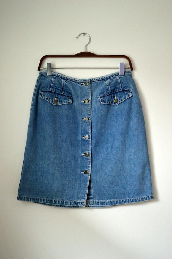 90s eddie bauer high waisted denim skirt by wiinkvintage
