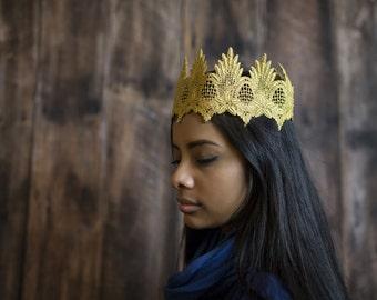 ACANTHA - Royal Gold Crown King or Queen Costume Accessory Lace crown HeadBand Baby Halo Hat Lace Headband, Photo Prop, princess Victorian
