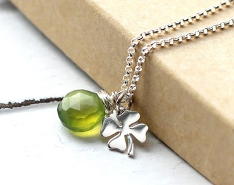 Green Gemstone Four Leaf Clover Charm Necklace, Sterling Silver Shamrock Charm, St. Patricks Day, Olive Green Chalcedony, Shamrock Necklace