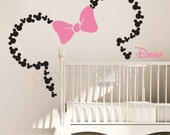 Mickey Mouse Inspired ears with Bow & PERSONALIZED BABY NAME / Minnie Mouse Inspired wall decals by GraphicsMesh (Small)